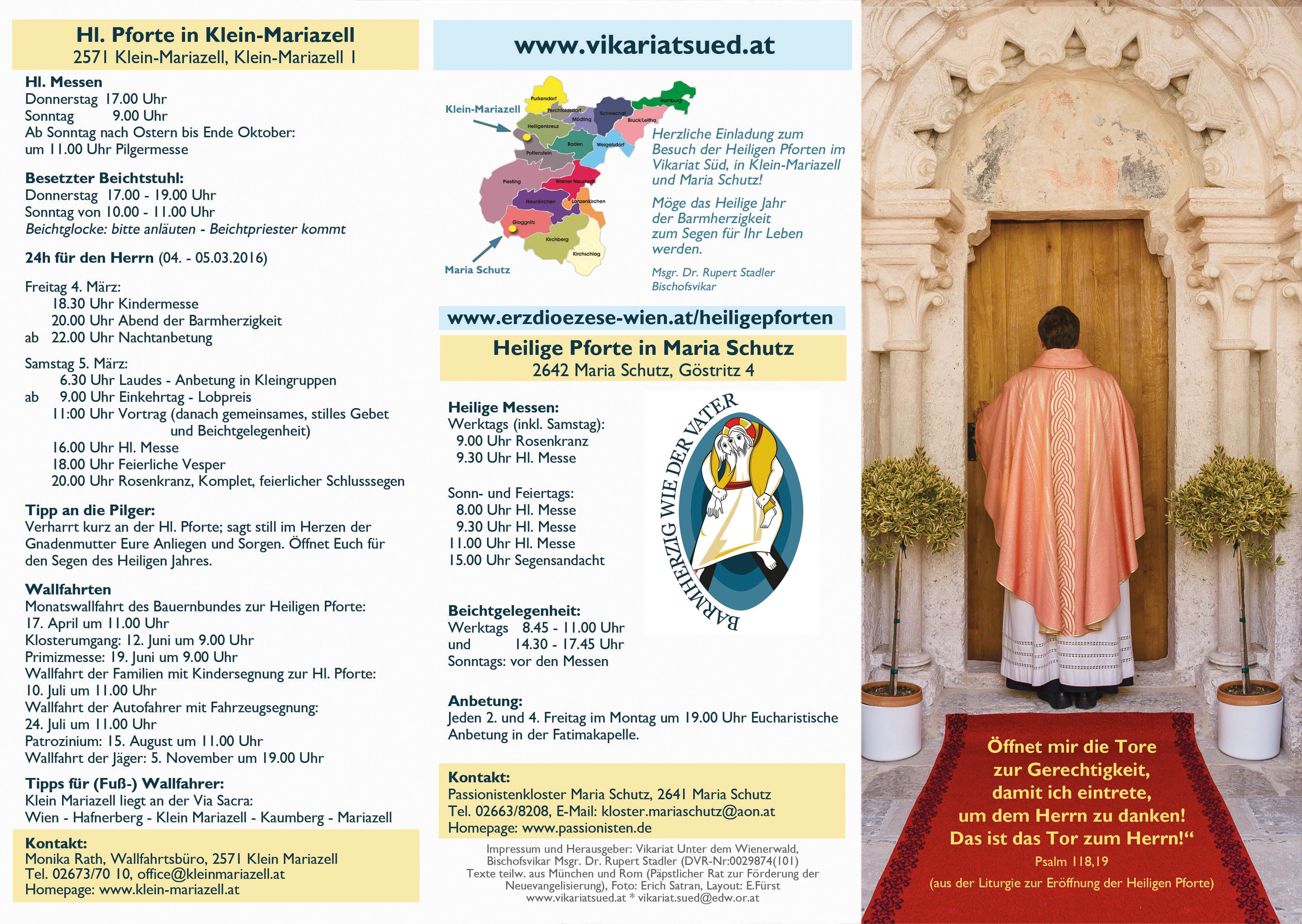 Folder Hinführung zum Durchschreiten der Heiligen Pforten